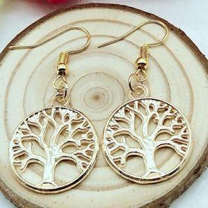 Retro Golden Tree of Life earrings Handmade